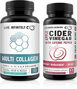 Apple Cider Vinegar Capsules and Multi Collagen Capsules Bundle