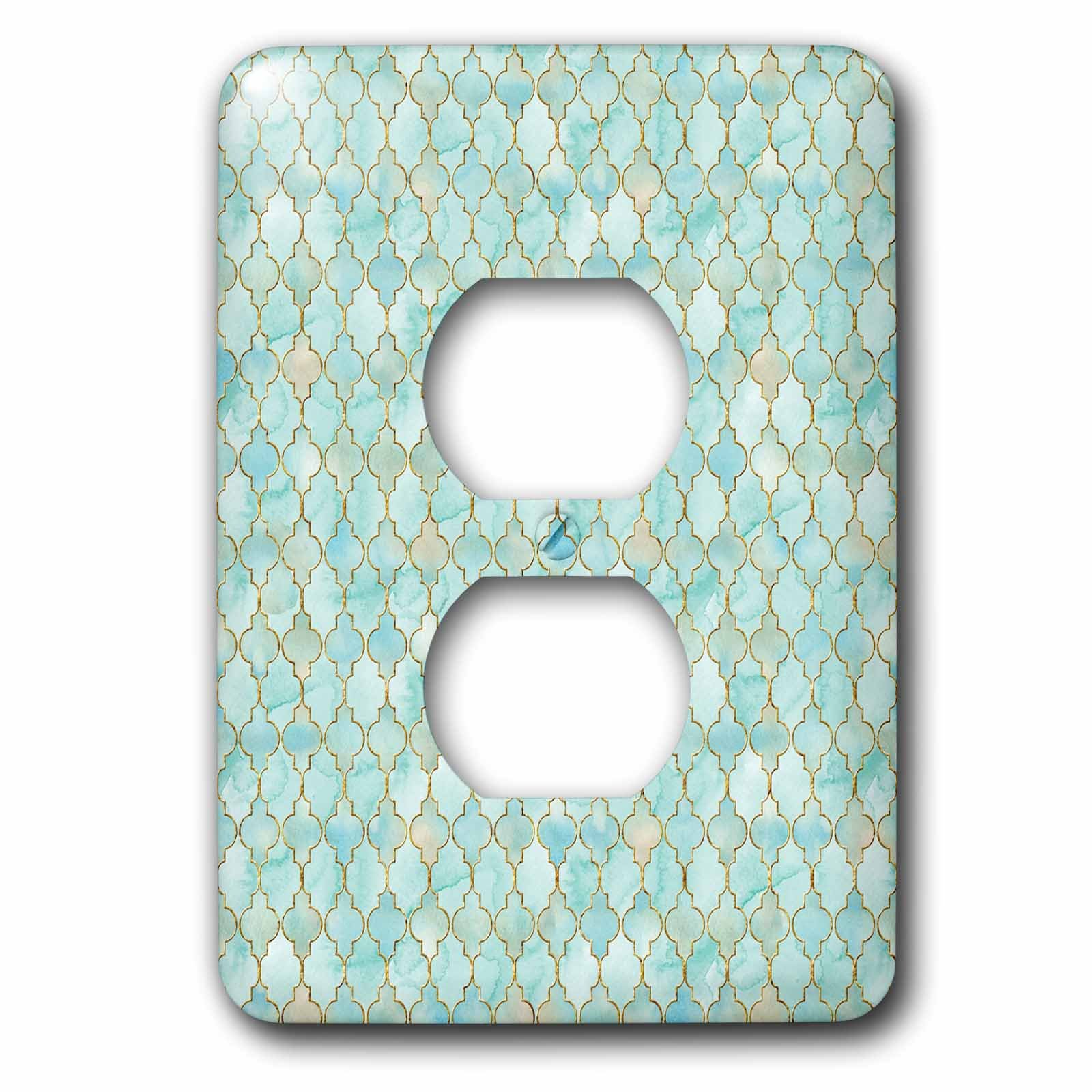 3dRose Uta Naumann Faux Glitter Pattern - Luxury Trendy Gold And Teal Moroccan Arabic Quatrefoil Tile Pattern - Light Switch Covers - 2 plug outlet cover (lsp_268950_6) by 3dRose (Image #1)
