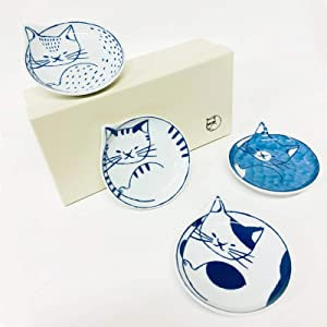 GOTOUCHI Appetizer Cat Plate Sets HASAMIYAKI Porcelain Dinnerware, Traditional Japanese Cute Cat Design Tableware, Dinner Plate Serving Side Dishes Dessert Salad Sushi Fruit Bread, Set of 4
