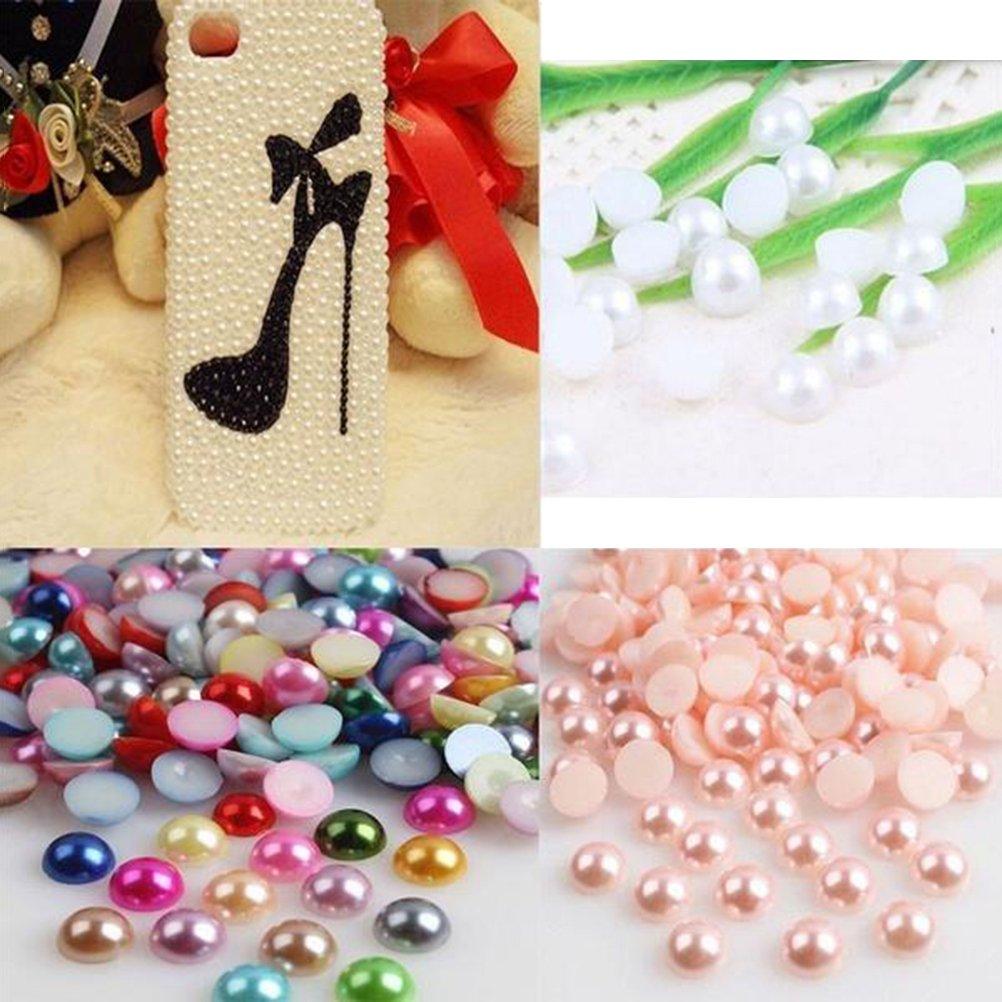 rosa claro WINOMO 2000pcs mitad granos redondos de la perla granos de la perla de la parte posterior plana artificial para el arte DIY que hace la joyer/ía 4m m