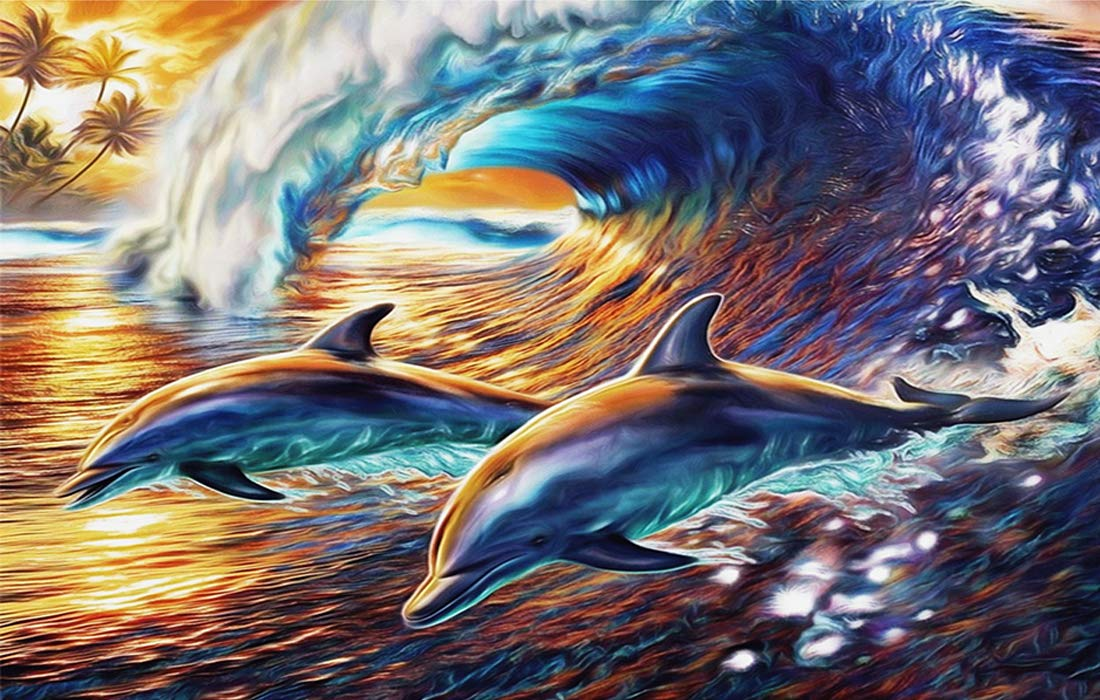 waitata DIY Oil Painting for Adults Kids Painting by Number Kit Digital Oil Painting (Dolphin, 16X20in)