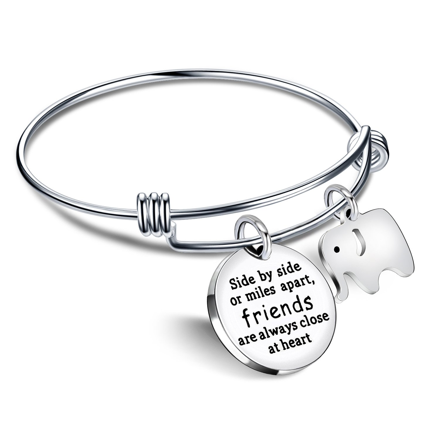 Bangle Bracelets Friendship Best Friend Gifts Elephant Pendant Friends are always close at heart lauhonmin AB085-CA