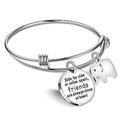 bb1340684e24 lauhonmin Brazalete Pulseras Amistad Mejor Amigo Regalos Elefante Colgante  - Amigos Siempre están Cerca en el corazón  Amazon.es  Joyería