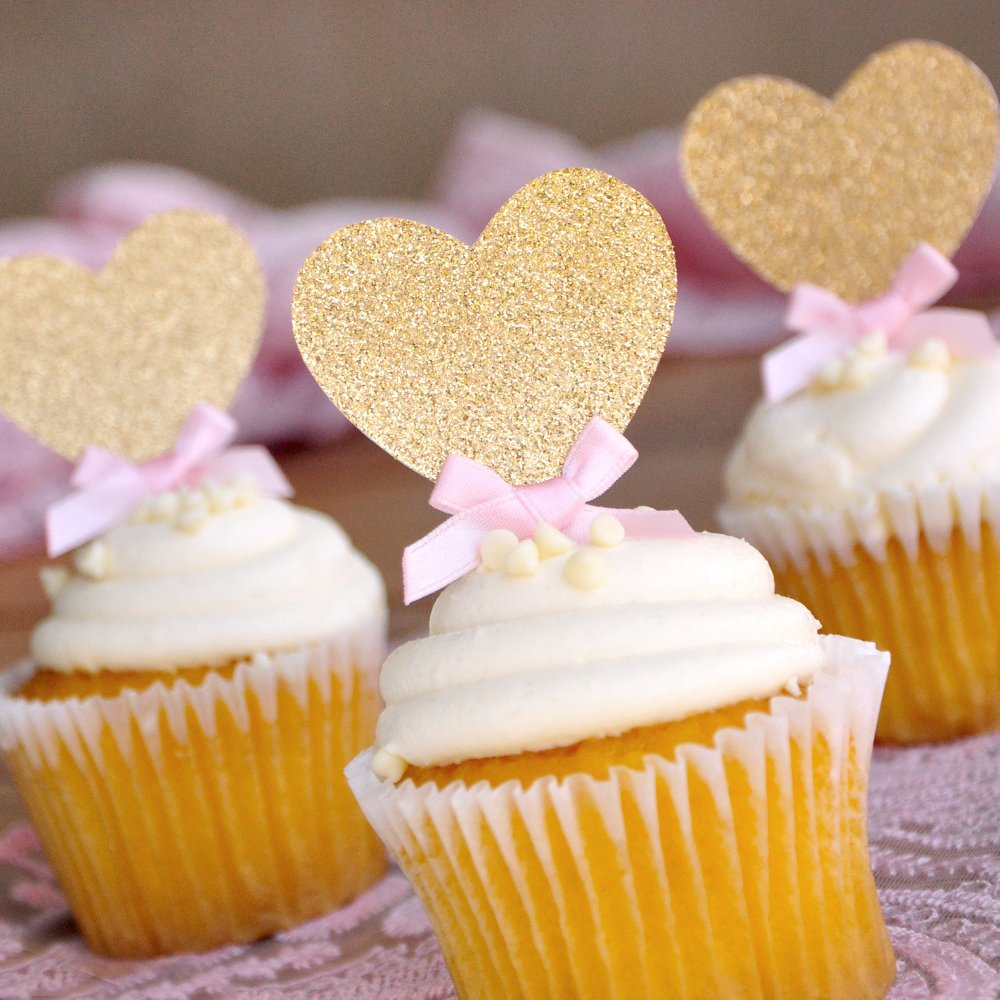 Amazon.com: Heart Cupcake Toppers. Pink and Gold Bridal Shower ...