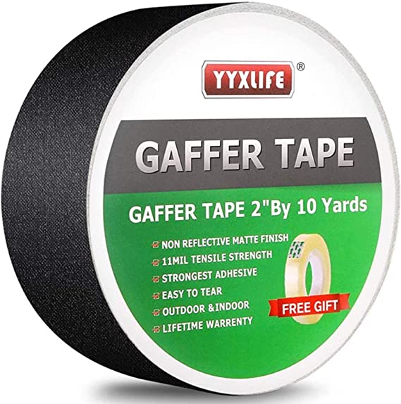 Water Resistant Yellow Gaffers Tape 2 Inch by 90 Feet Heavy-Duty Cloth Gaffer Tape Non-Reflective Versatile and Multipurpose Cloth Tape Residue-Free Gaff Tape for Indoor and Outdoor Use