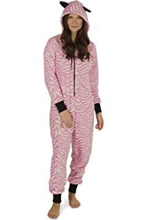 Totally Pink Women s Warm and Cozy Plush Adult Onesies for Women One-Piece  Novelty Pajamas a8947696e