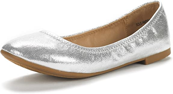 DREAM PAIRS Women's Sole-Happy Silver Ballerina Walking Flats Shoes - 5.5 M US best girls' spring dress shoes
