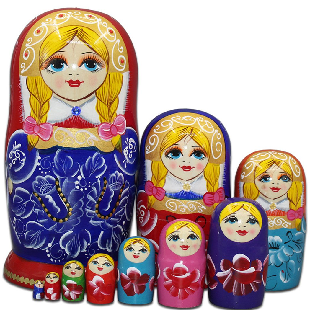 Moonmo 10pcs Blonde Cute Girl with 2 Braids Russian Nesting Dolls Gift Wishing Dolls Matryoshka Traditional by Moonmo