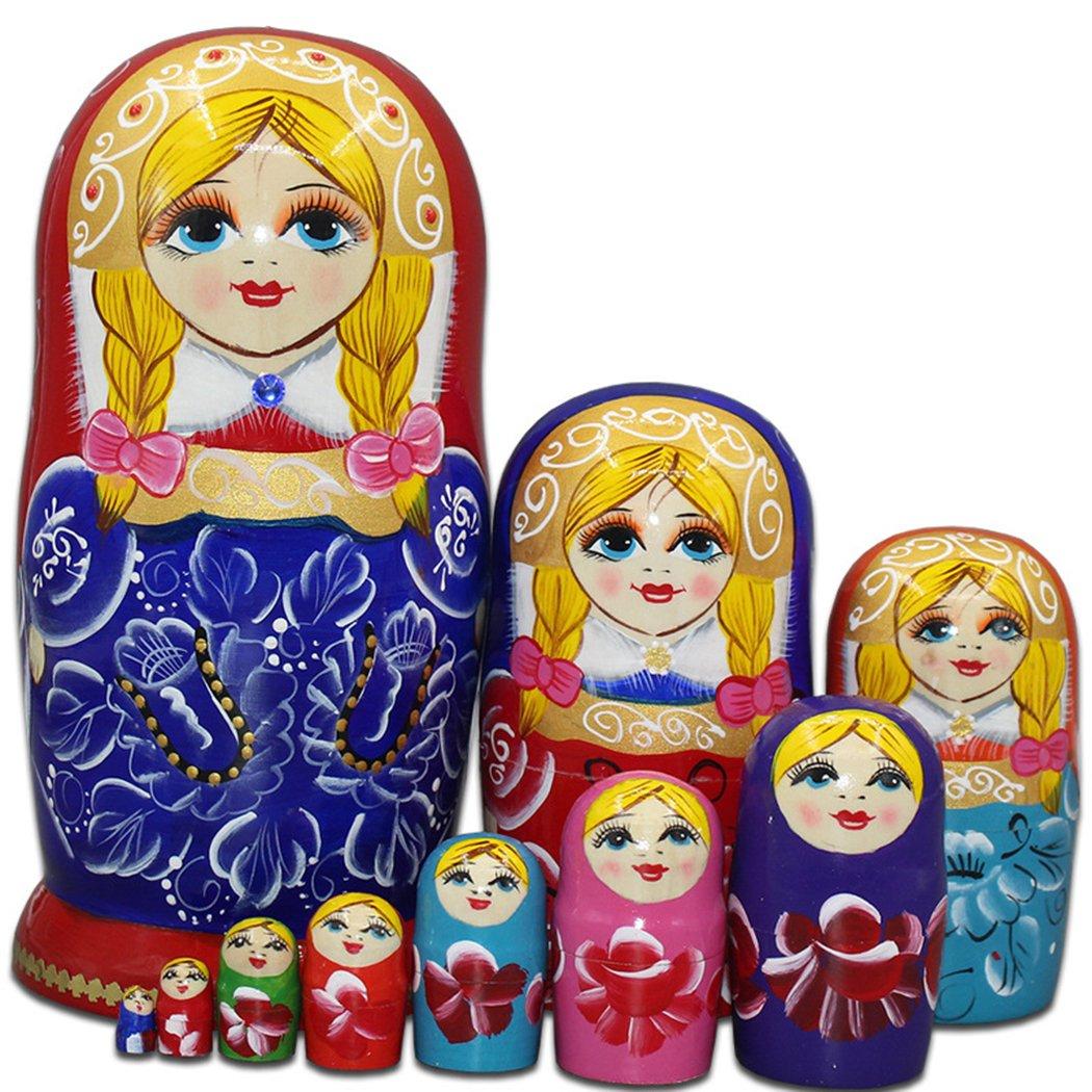 Moonmo 10pcs Blonde Cute Girl with 2 Braids Russian Nesting Dolls Gift Wishing Dolls Matryoshka Traditional