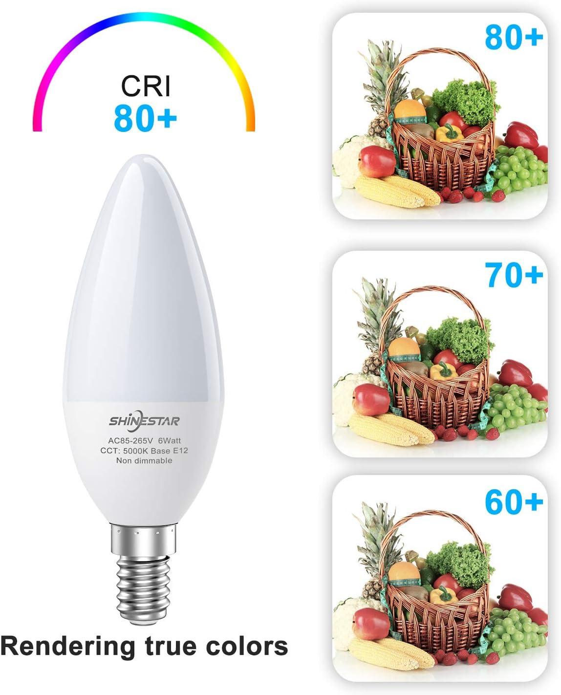 Ceiling Fan Light Bulbs 60W Equivalent Non-dimmable 8-Pack E12 LED Bulbs 2700K Warm White Candelabra LED Bulb Chandelier Bulb Type B Small Base