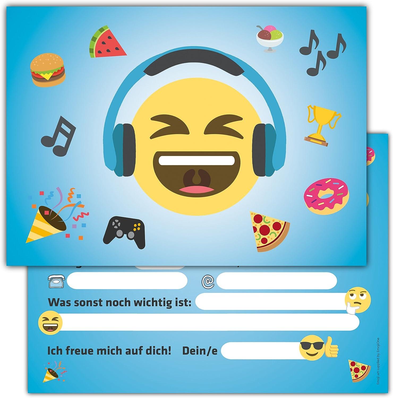 Gelb //16er Set Einladungskarten Kindergeburtstag mit Umschlag Motiv lustiger Emoji Smiley f/ür Jungen und M/ädchen