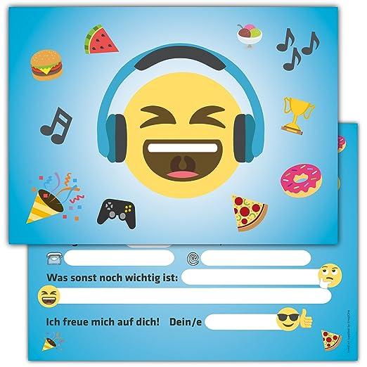 12 Lustige Smiley Einladungskarten Zum Kindergeburtstag Emoji