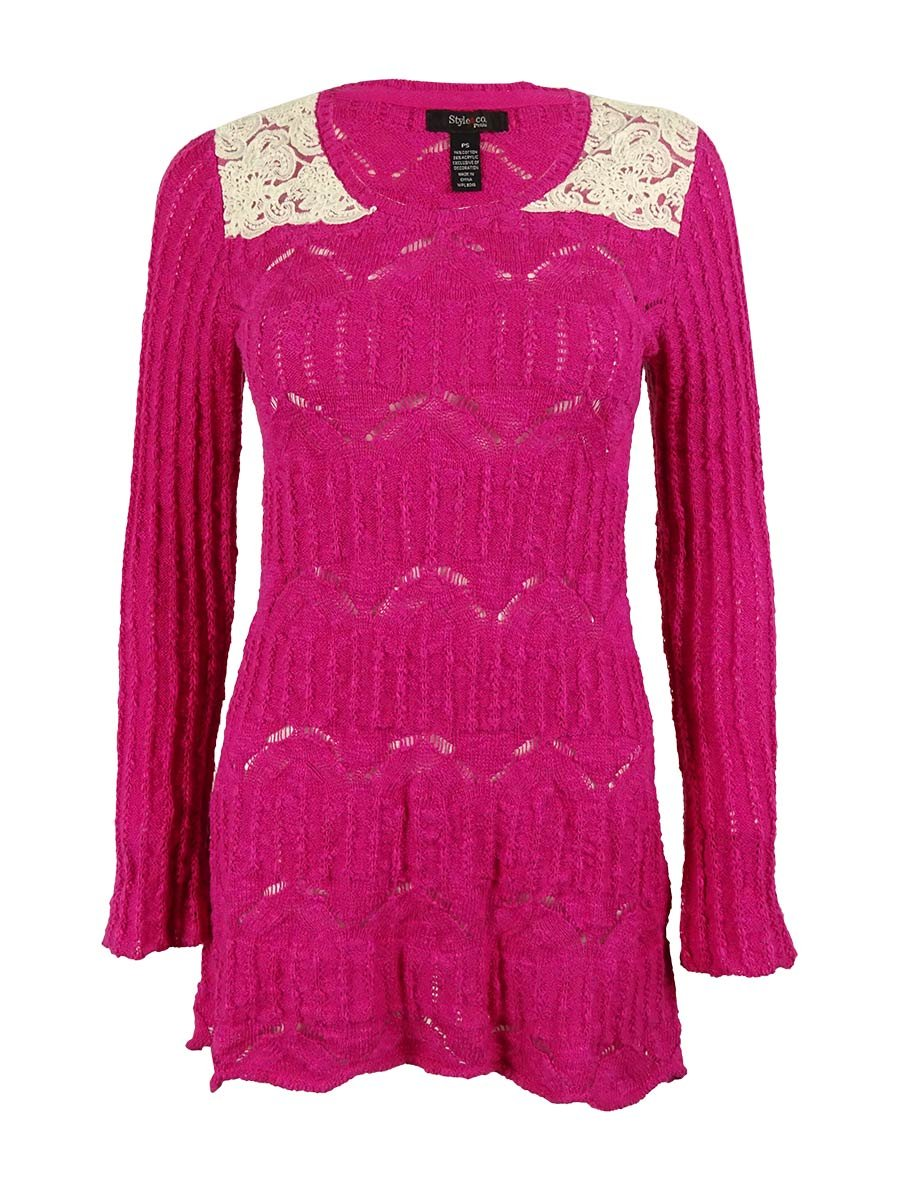 Style & Co. Women's Lace Trim Sweater (PS, Pink Pinata)