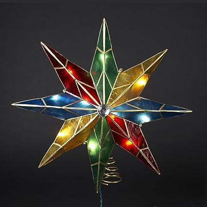 ksa 10 lighted capiz poinsettia star christmas tree topper clear lights - Lighted Christmas Tree Toppers