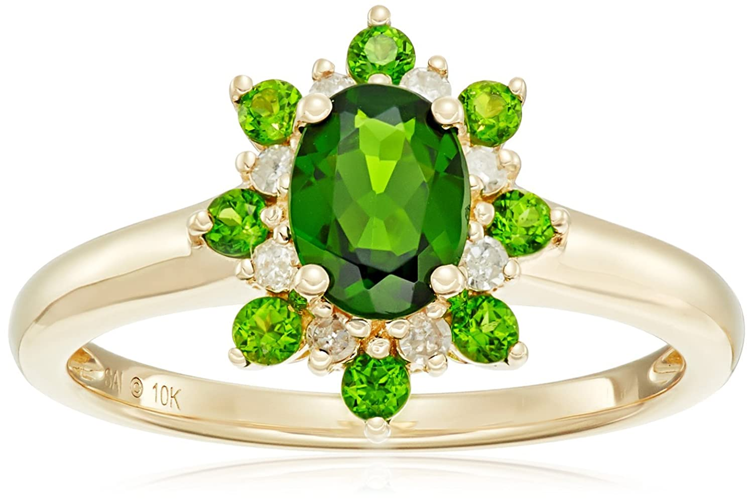 10k Yellow Gold Chrome Diopside and Diamond Flower Ring (1/10cttw, H-I Color, I2 Clarity), Size 7