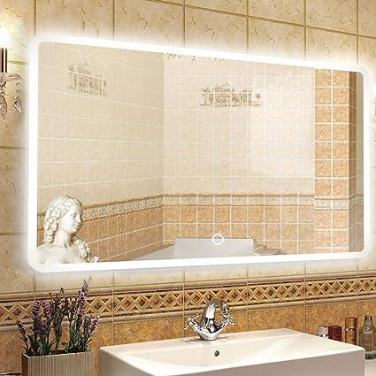 NEUTYPE 47u0026quot; X 31u0026quot; Backlit Mirror Bathroom Sink Mirror Horizontal  And Vertical Wall