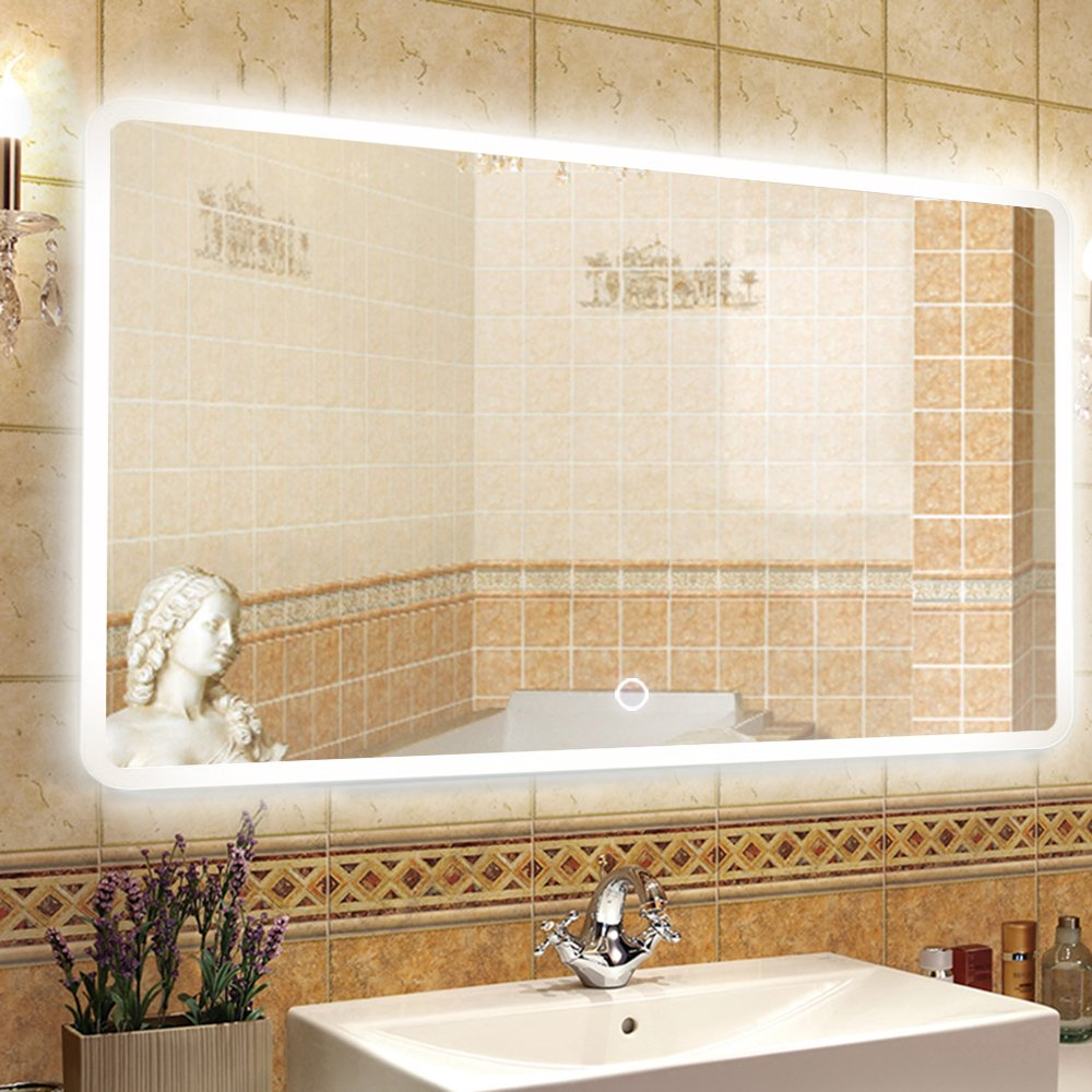 NEUTYPE 47'' x 31'' Backlit Mirror Bathroom Sink Mirror Horizontal and Vertical Wall-mounted LED Vanity Mirror with Touch Button