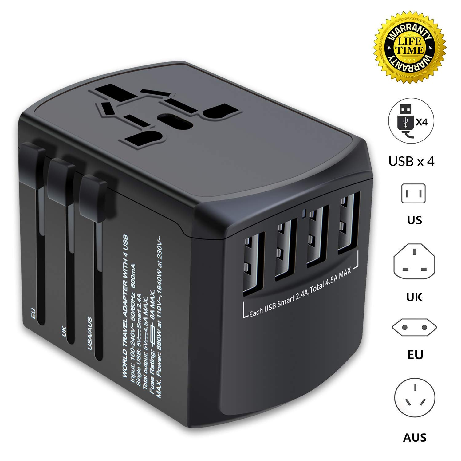 Travel Adapter, Universal Plug Adapter for Worldwide travel, International Power Adapter, Plug Converter with 4 USB Ports, All in One Wall Charger AC Socket for European UK AUS ASIA Cell Phone Laptop by SLMASK