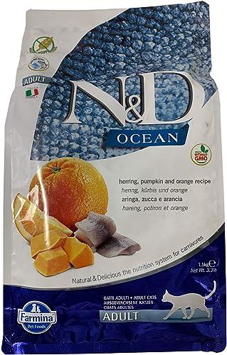 Farmina N D Ocean Herring Pumpkin and Orange Dry Cat Food 3.3 Pounds
