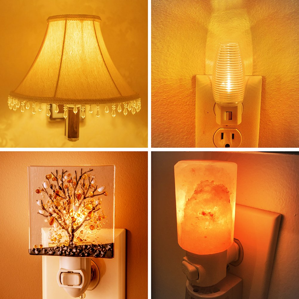 Night Light Bulbs, Emotionlite Amber LED C7 Bulb, 7w Equivalent, E12 Candelabra Base, Salt Lamp and Nightlight Replacement Bulb, 0.6W, Amber Yellowish 2200K, 50LM, 6 Pack by Emotionlite (Image #6)