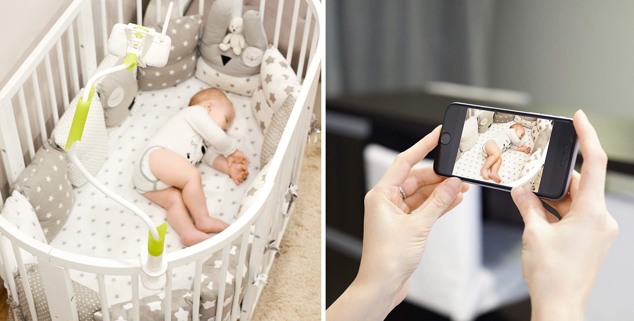 Baby Monitor Mount - Universal Baby Monitor Holder for Crib or Wall Shelf - Strong Clamp Bracket & Flexible Adjustable Arm - Compatible with Most Infant Video Cameras by Kenley (Image #4)