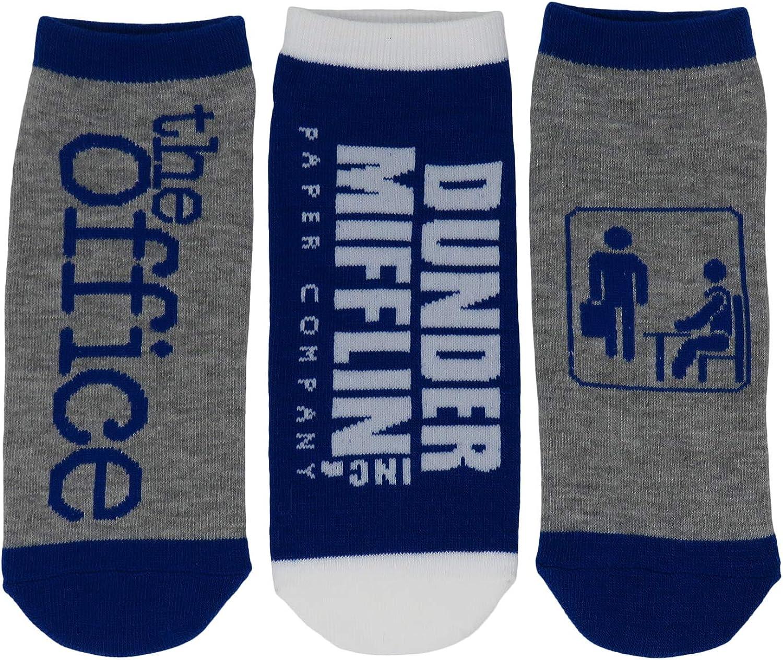 The Office TV Show Dunder Mifflin Logo 3 Pack Adult Ankle Socks