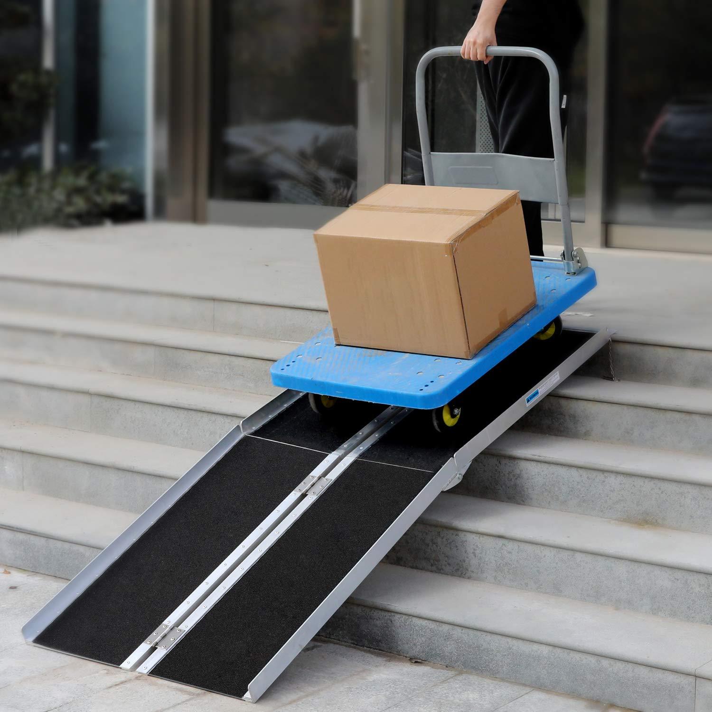Amazon.com: Rampa de aluminio portátil para silla de ruedas ...