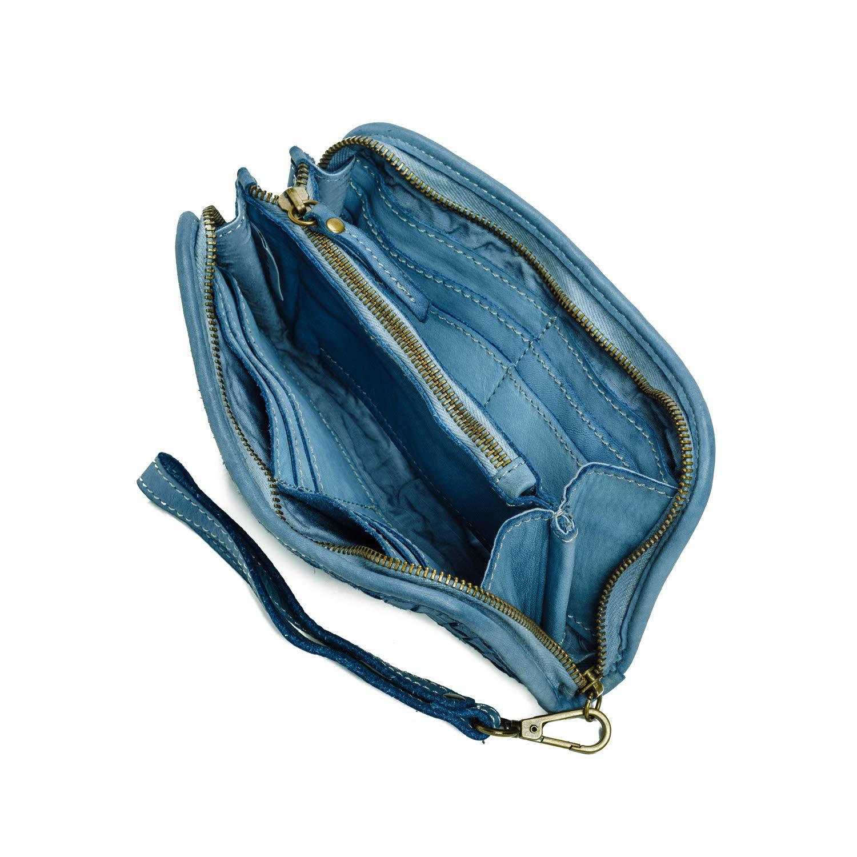 Ira del Valle Calidad de Cuero Genuino Tejido Elegante Billetera para Mujer y Ni/ña Elegante Monedero y Portatarjetas de Cr/édito Modelo Colorado Wallet, Azul