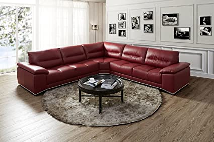 Pleasing Amazon Com The Valentino Premium Leather Sectional Berry Ocoug Best Dining Table And Chair Ideas Images Ocougorg