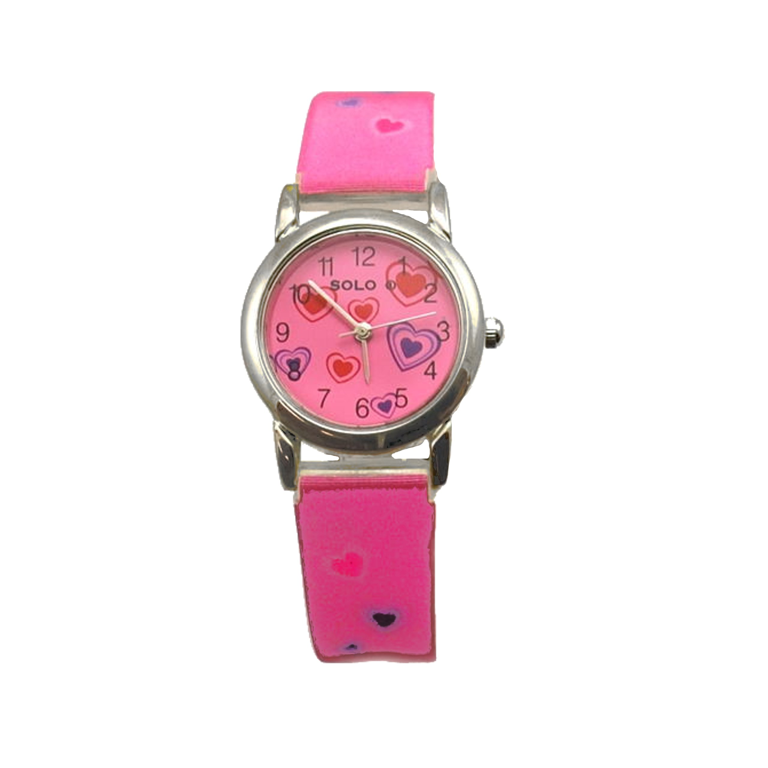 Solo Holographic Pink Hearts Girls Fashion Strap Watch SW24