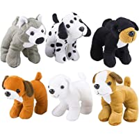 4E's Novelty Plush Puppy Dogs (Pack of 6) Assorted Cute Stuffed Puppies - 6 Inches, Small Plushed Animals, 6 Designs…