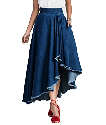 f3c879962 Women Elastic High Waist Pleated Asymmetrical Cowboy Denim Clubwear Maxi  Skirts at Amazon Women's Clothing store: