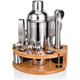 Esmula Bartender Kit with Stylish Bamboo Stand, 12 Piece Cocktail Shaker Set for Mixed Drink, Professional Stainless Steel Ba