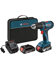 "Bosch Power Tools Drill Kit - DDB181-02 - 18-Volt, ½"", Compact Drill, Cordless Tool Drill Set – Includes Drill, Bit, 1.5Ah Batteries, Charger, Contractor Bag For Electricians, Plumbers, HVAC Tradesman"