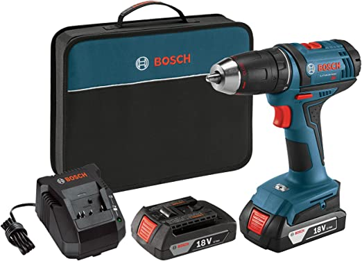 Bosch Power Tools Drill Driver Kit DDB181-02 - 18V Cordless Drill/Driver Tool Set with 2 Lithium Ion Batteries, 18 Volt Charger, & Soft Carry ...