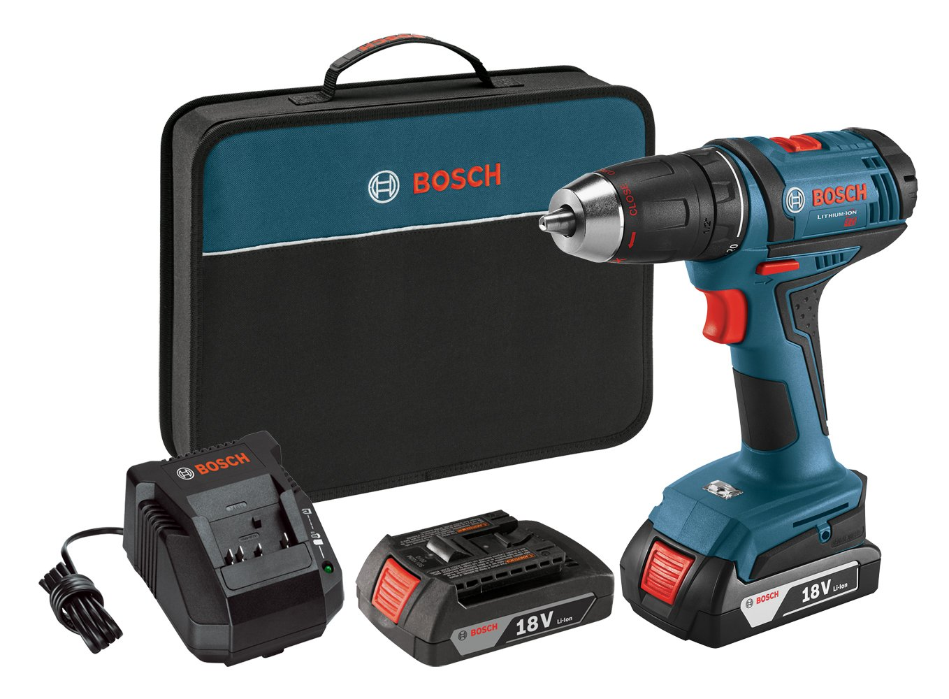 Bosch Power Tools Drill Driver Kit DDB181-02 – 18V Cordless Drill Driver Tool Set with 2 Lithium Ion Batteries, 18 Volt Charger, Soft Carry Contractor Bag