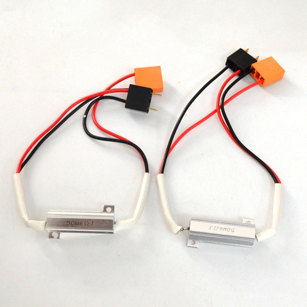 RunQiao 2 x H7 LED HID Fog Light HID HeadLight Error Resistor Wiring Harness Socket 50W 6 Ohm Canbus Error Free Anti Flickering Load Resistor Plug & Play