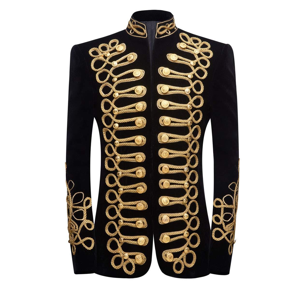 PYJTRL Mens Stylish Court Prince Black Velvet Gold Embroidery Blazer Suit Jacket (Black Gold, US 44R) by PYJTRL