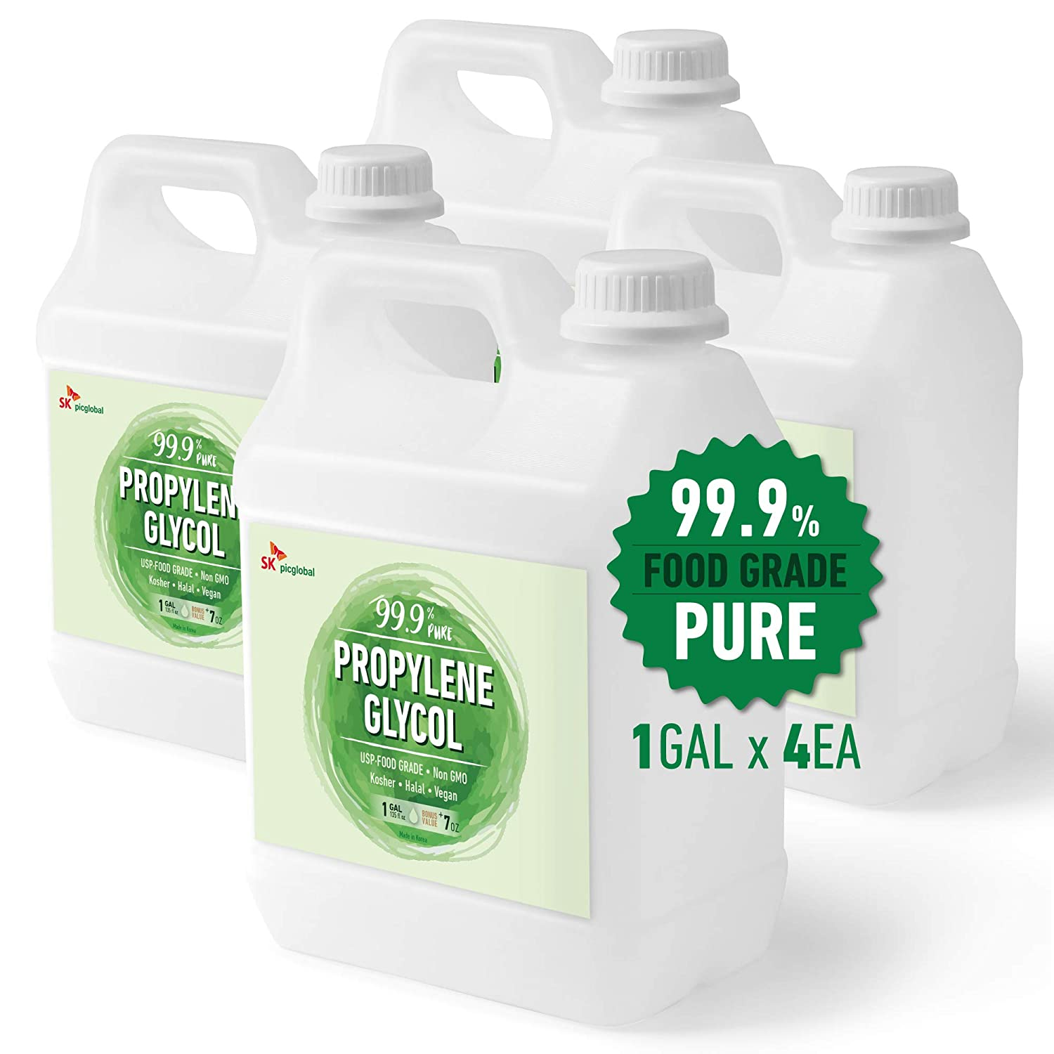 99.9% Pure Food Grade Propylene Glycol, 1 Gallon x 4, Moisturizer, Solvent and Humectant, for Fog Machines, Soaps, Lotions and Antifreeze Solution, Eco-Friendly, USP Certified, Kosher, Non-GMO