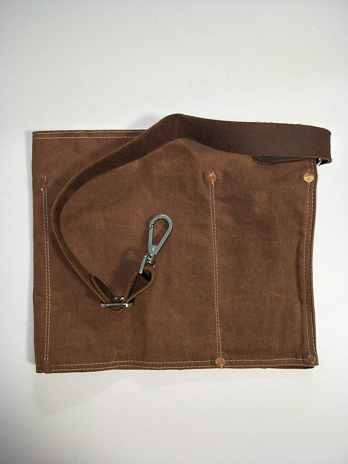 Luchuan Waterproof Waxed Canvas Tool Apron With the Adjustable Genuine Leather Belt (brown)