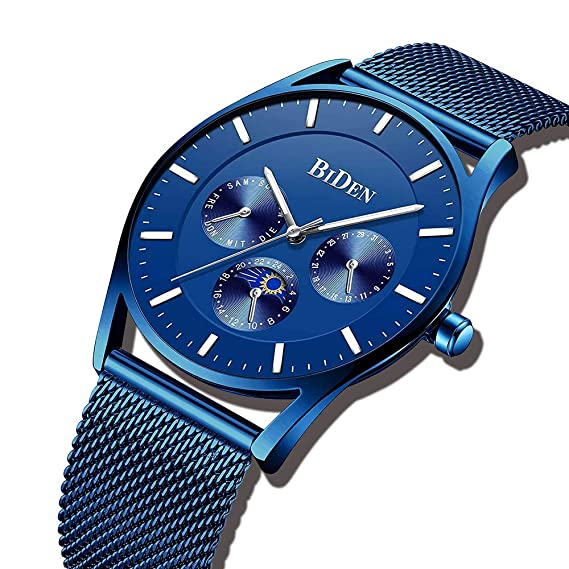 abcfbbb5091a Relojes Hombre Relojes de Pulsera Deportivos Impermeable Acero Inoxidable  de Malla Ultra Fino Azul Reloj Analogico Hombre Minimalista Negocios   Amazon.es  ...