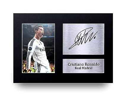 Cristiano Ronaldo Los Regalos Firmaron A4 la Dedicatoria Impresa Real Madrid Demostración de Foto