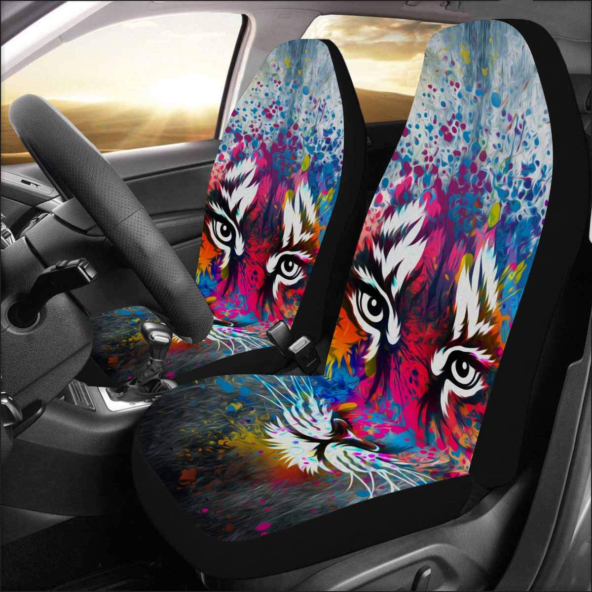 INTERESTPRINT Universal Fit Custom Tiger Protector Two Front Car Seat Covers Set -100% Breathable