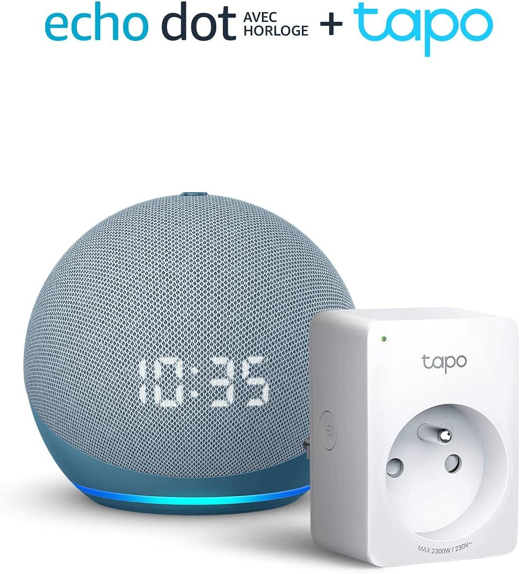 Echo Dot (4e génération) avec horloge, Bleu-gris + TP-Link Tapo P100 Smart...
