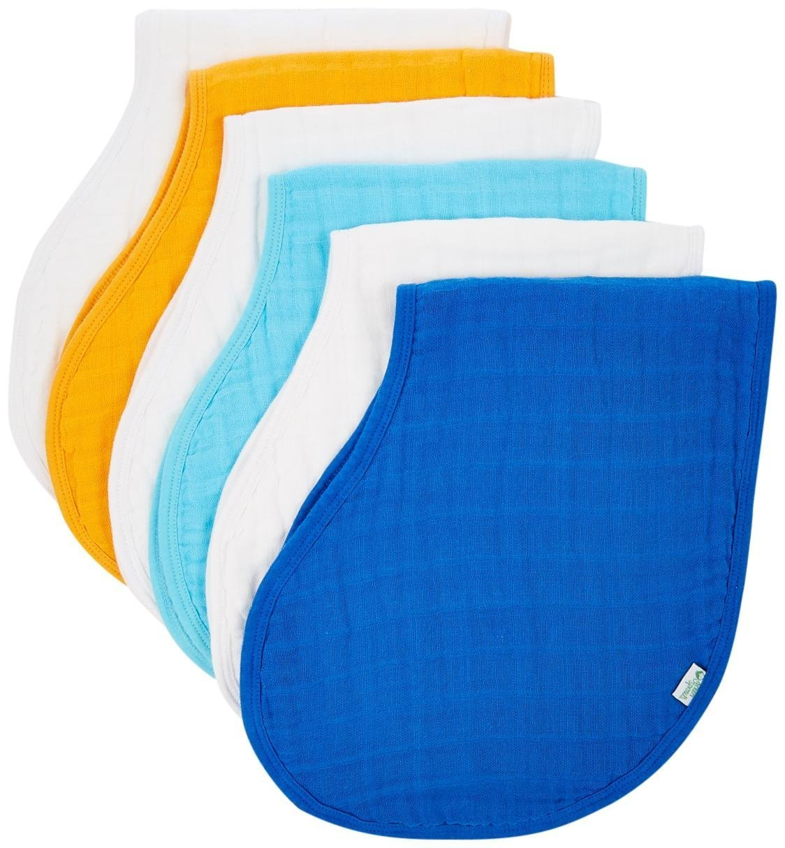 Green Sprouts by i play. Muslin Burp Cloths Made from Organic Cotton, White/Blue, One Size, 2 Pack