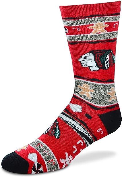 Chicago Blackhawks For Bare Feet Ugly Christmas Xmas Socks