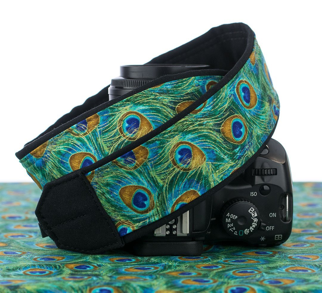 Peacock Feathers Camera Strap, Teal Green Blue Gold 37