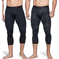 TSLA Men's (Pack of 1, 2) Compression 3/4 Capri Pants Baselayer Cool Dry Sports Running Yoga Tights