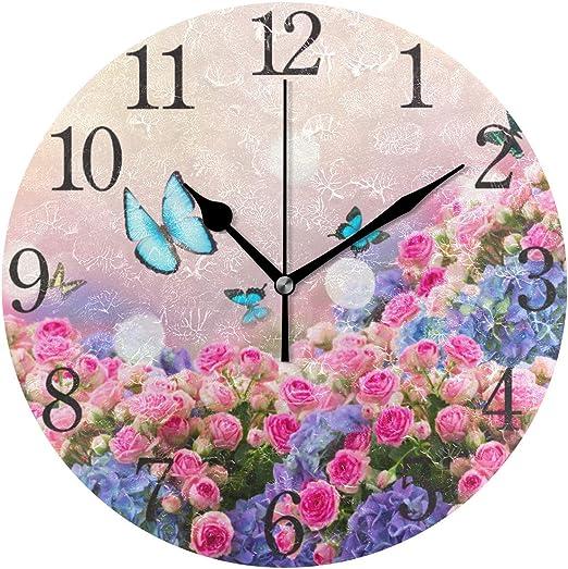 Zseeda Reloj de Pared Silencioso Sin Pilas Mariposas de jardín Rosas de jardín Flores Acrílico Redondo Relojes silenciosos: Amazon.es: Hogar