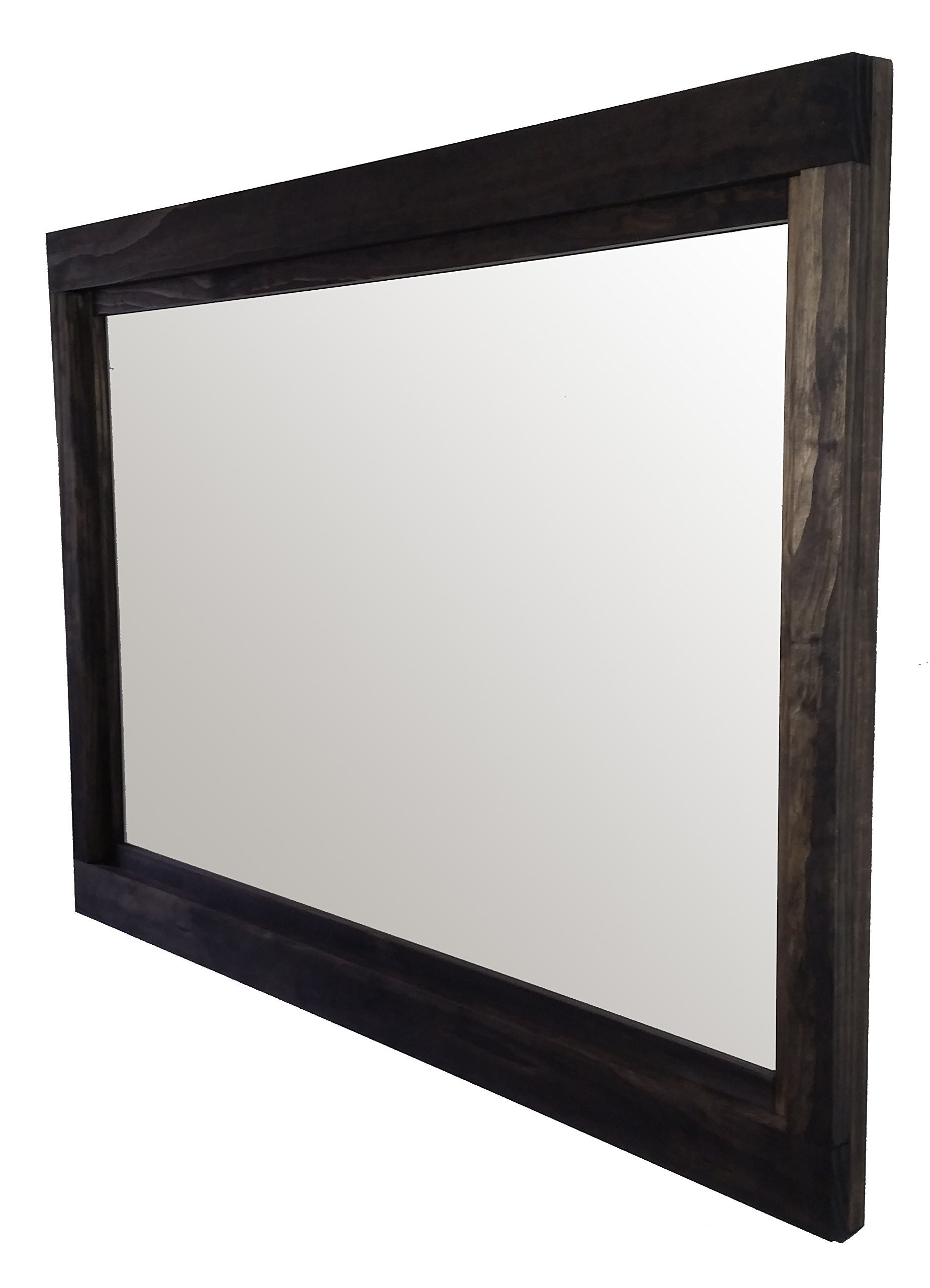 Farmhouse Horizontal Mirror 42 x 30 Stained in Ebony - Large Wall sMirror - Rustic Modern Home - Home Decor - Mirror - Housewares - Woodwork - Frame - Stained Mirror by Renewed Decor